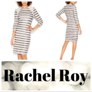 Rachel Roy Striped Sequin Mesh Mini Dress